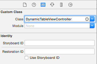 link custom class to storyboard table view controller