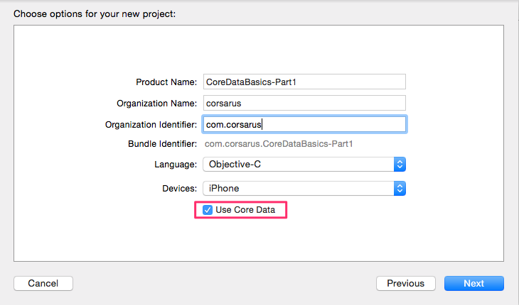 add core data to new xcode project