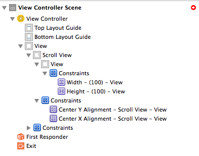 content view size and center constraints