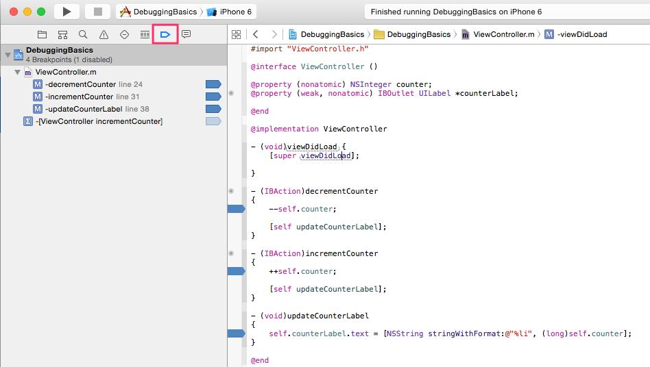xcode breakpoint navigator