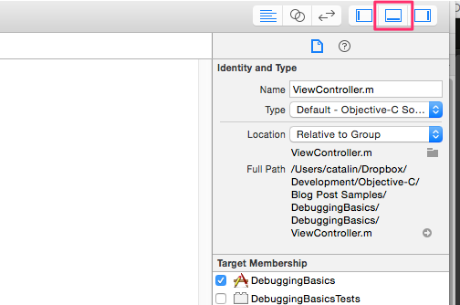 show the xcode debugger console